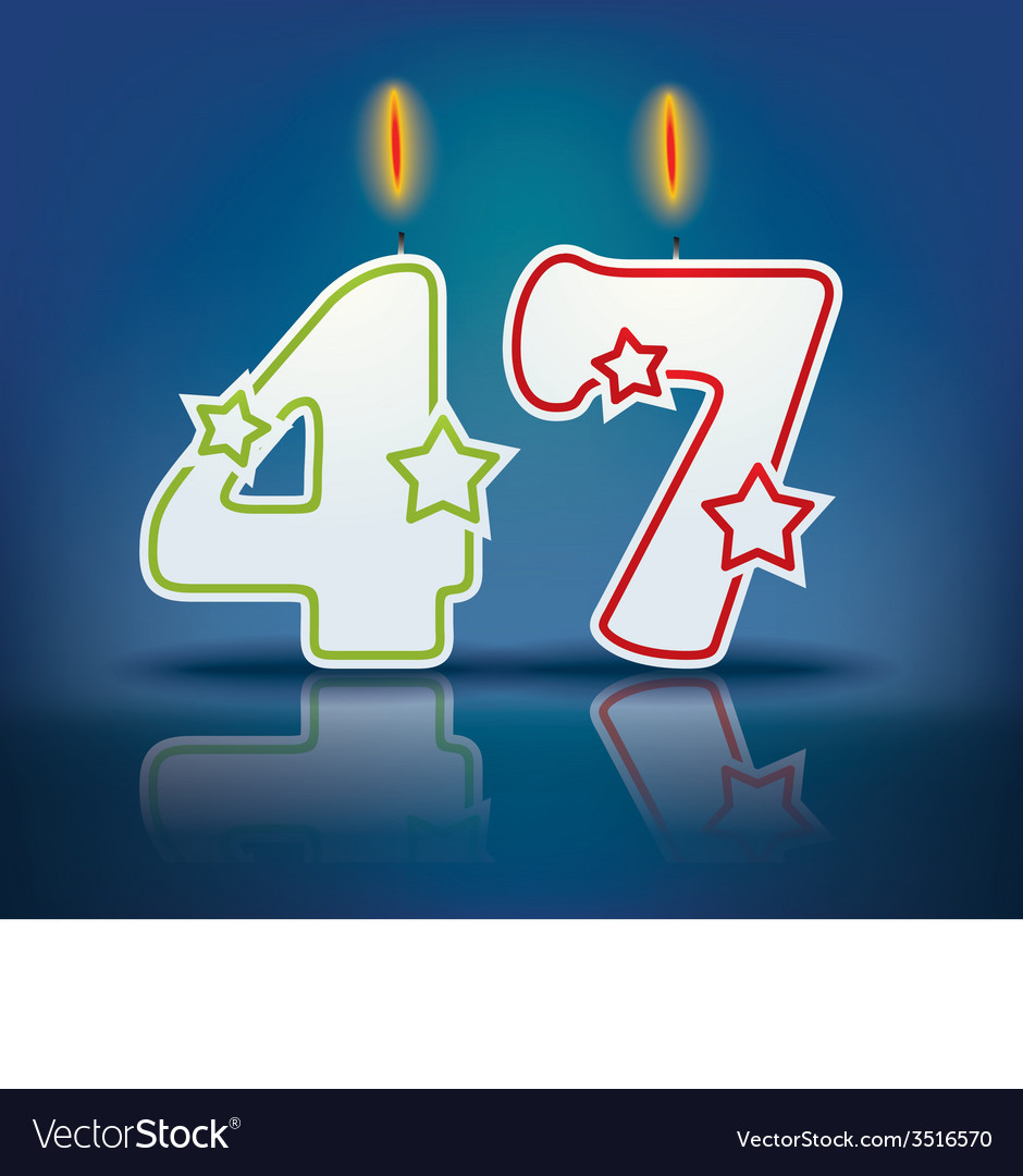 Birthday candle number 47 vector | Price: 1 Credit (USD $1)