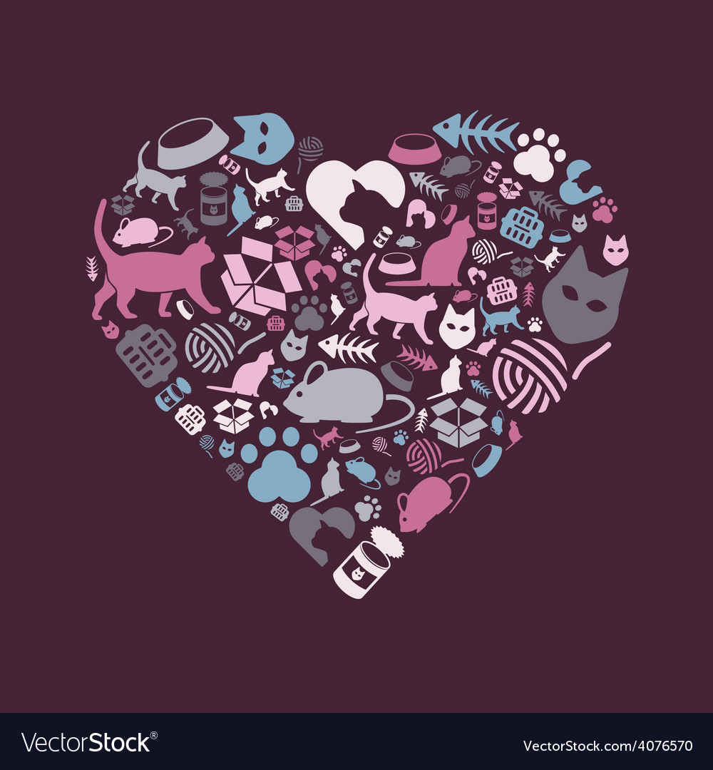 Cat icons in heart vector | Price: 1 Credit (USD $1)