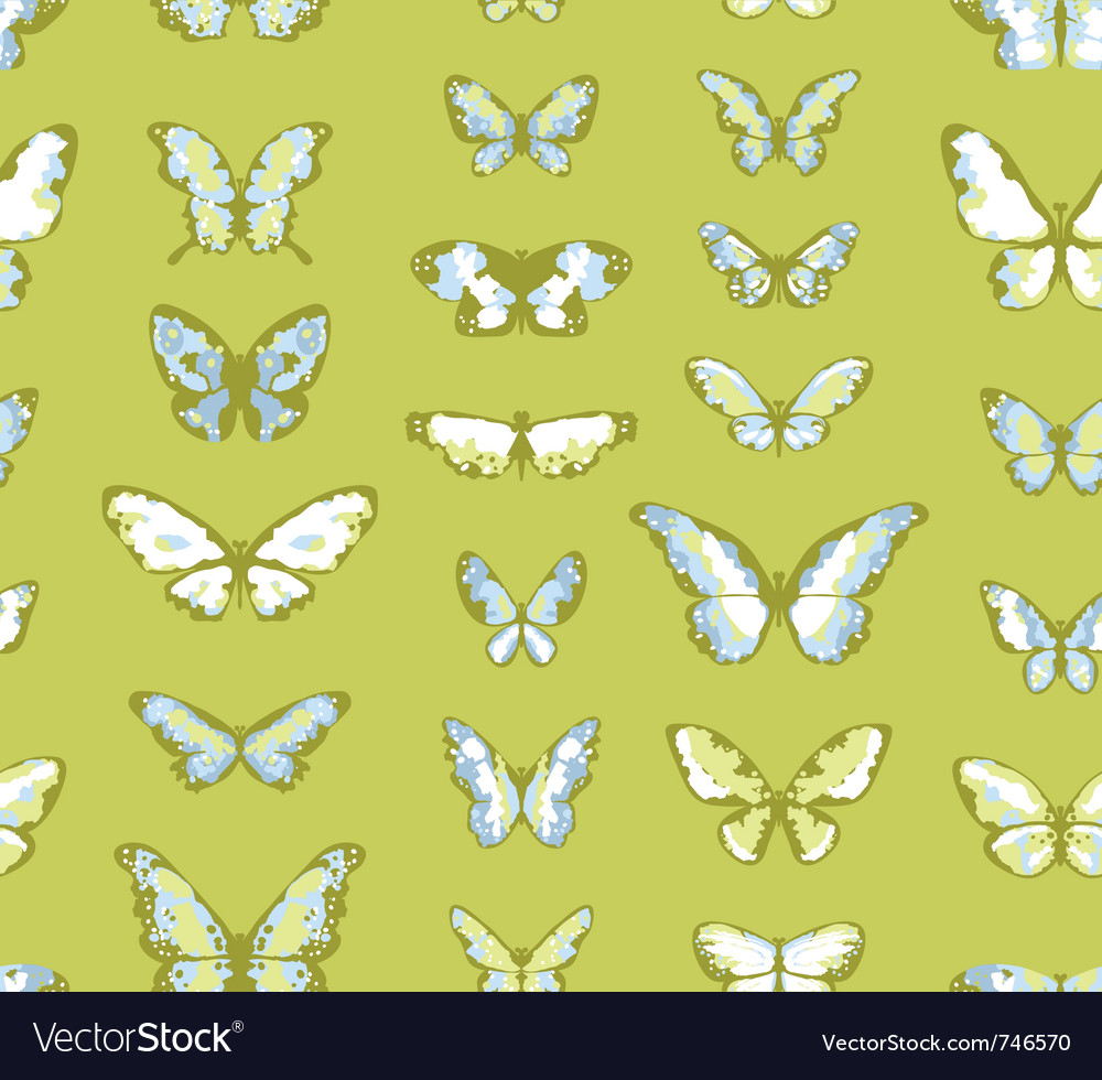 Green seamless background with butterflies vector | Price: 1 Credit (USD $1)
