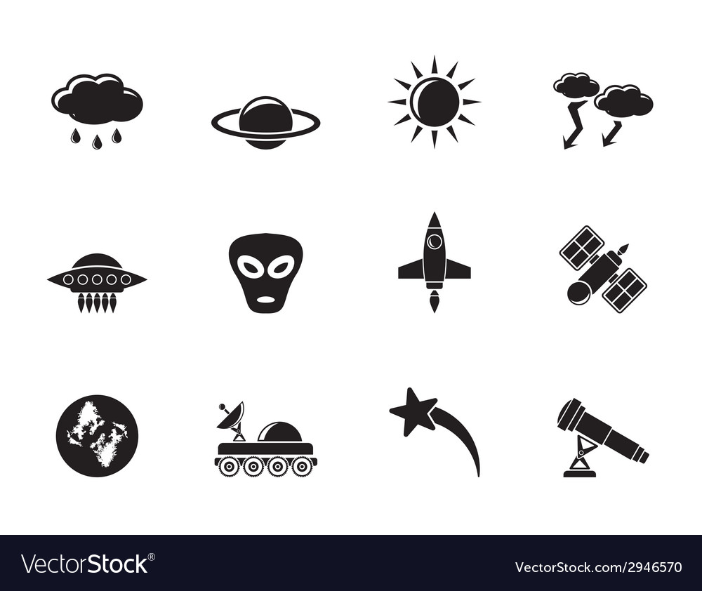 Silhouette astronautics and space and universe vector | Price: 1 Credit (USD $1)