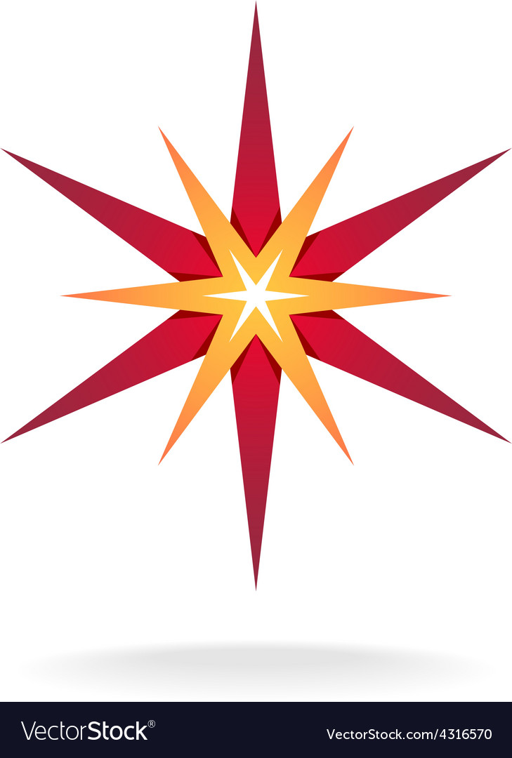 Star burst decoration sign six rays red and orange vector | Price: 1 Credit (USD $1)