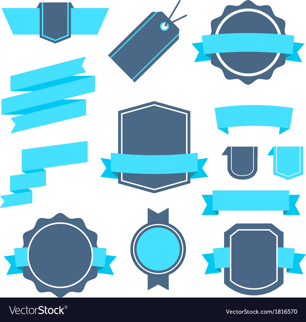 Stickers and badges set 4 flat style vector | Price: 1 Credit (USD $1)