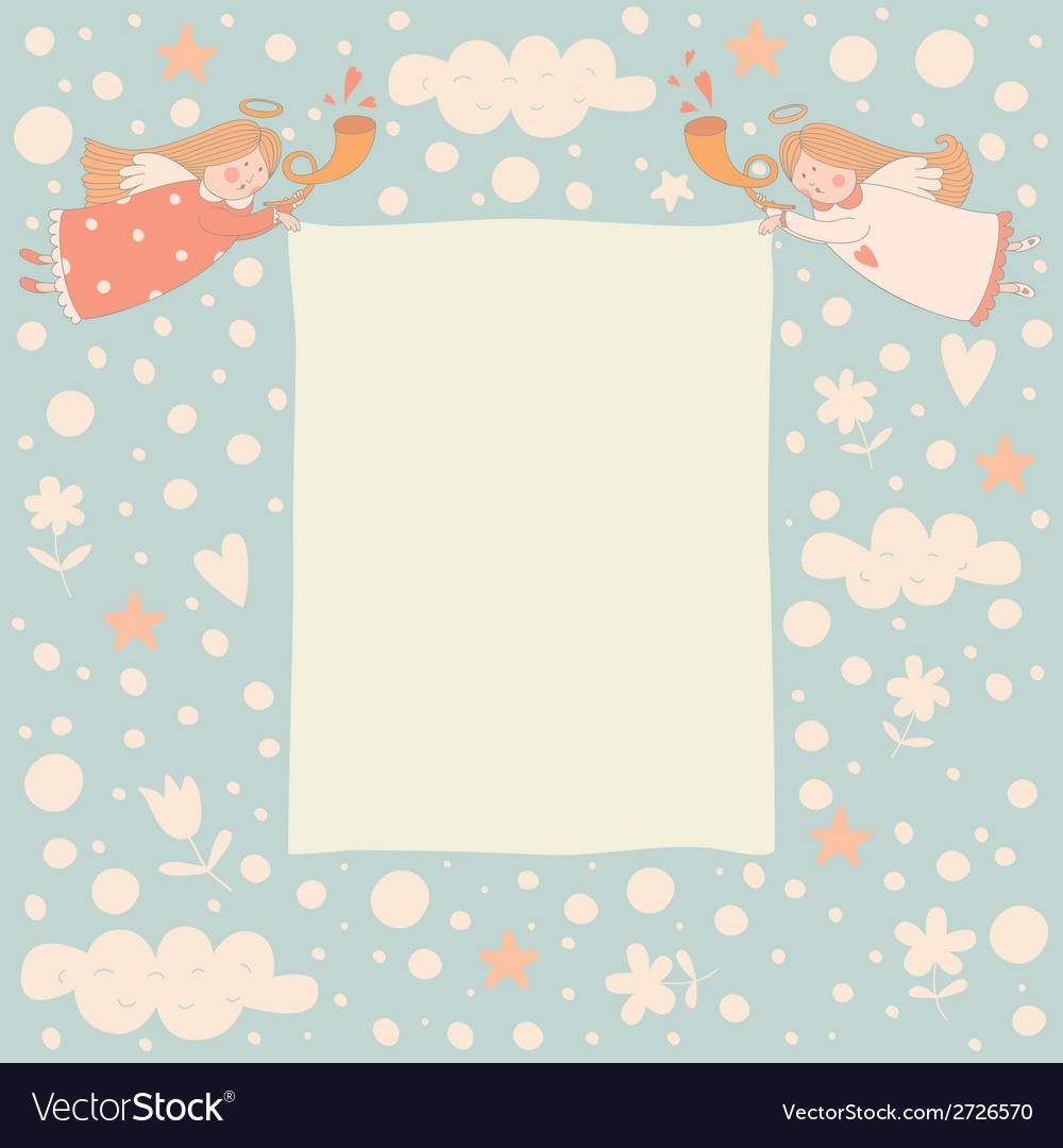 Text frame with two angels vector | Price: 1 Credit (USD $1)
