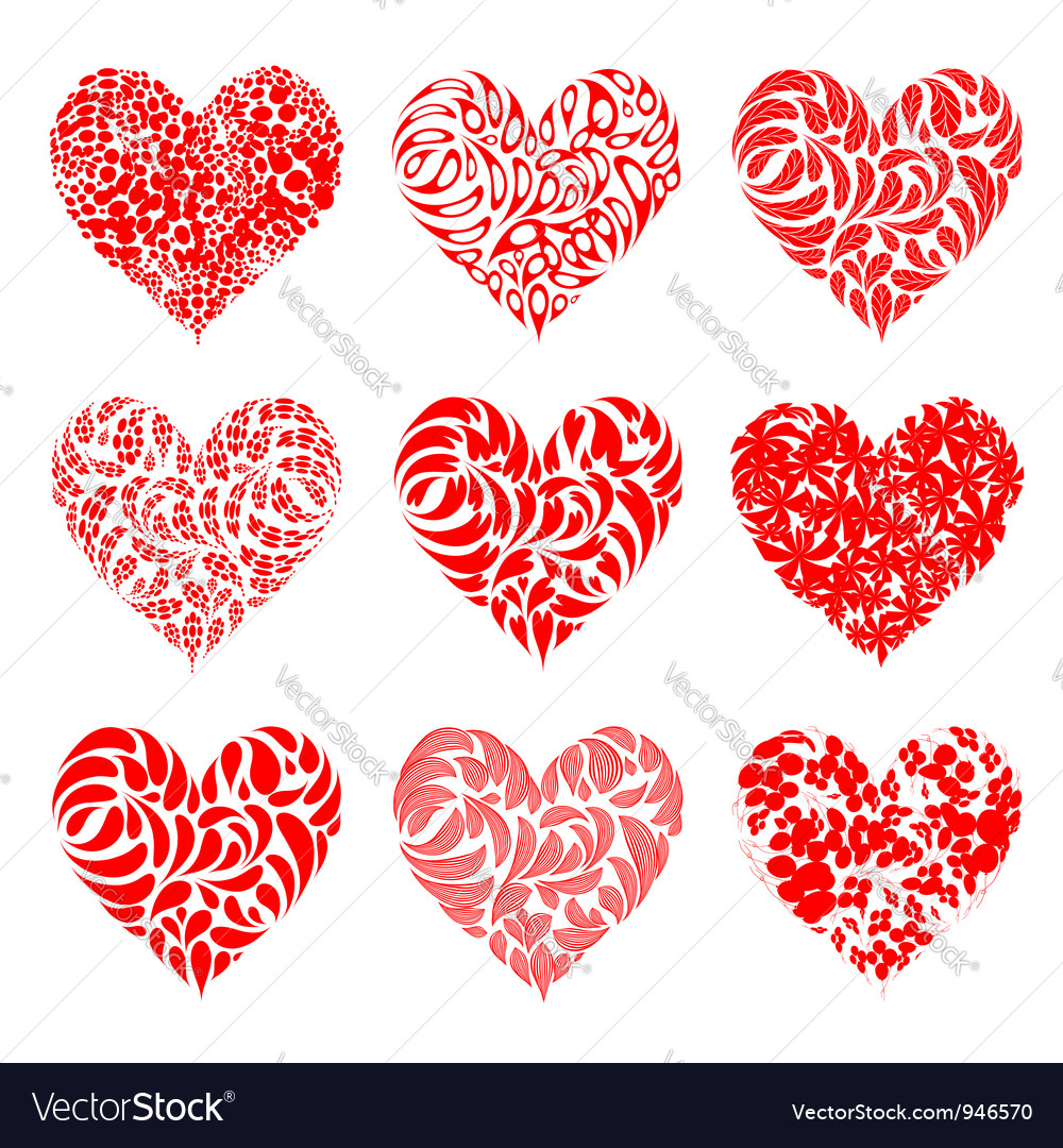 Valentine hearts red for your design vector | Price: 1 Credit (USD $1)