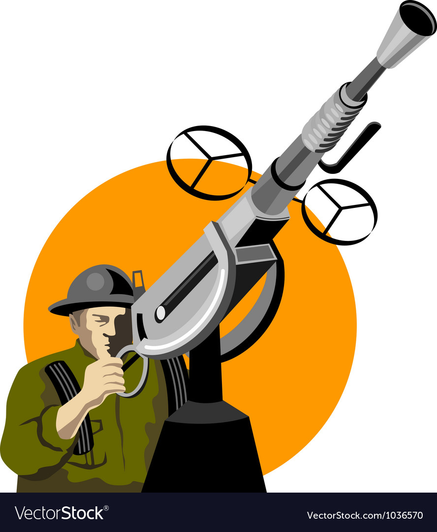 World war two british soldier machine gun vector | Price: 1 Credit (USD $1)