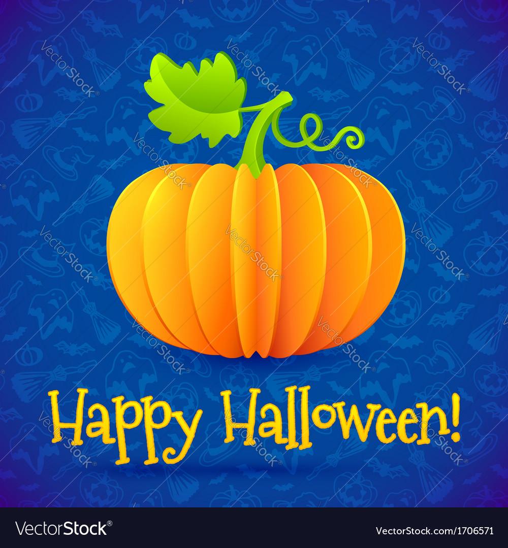Bright halloween orange paper pumpkin vector   Price: 1 Credit (USD $1)