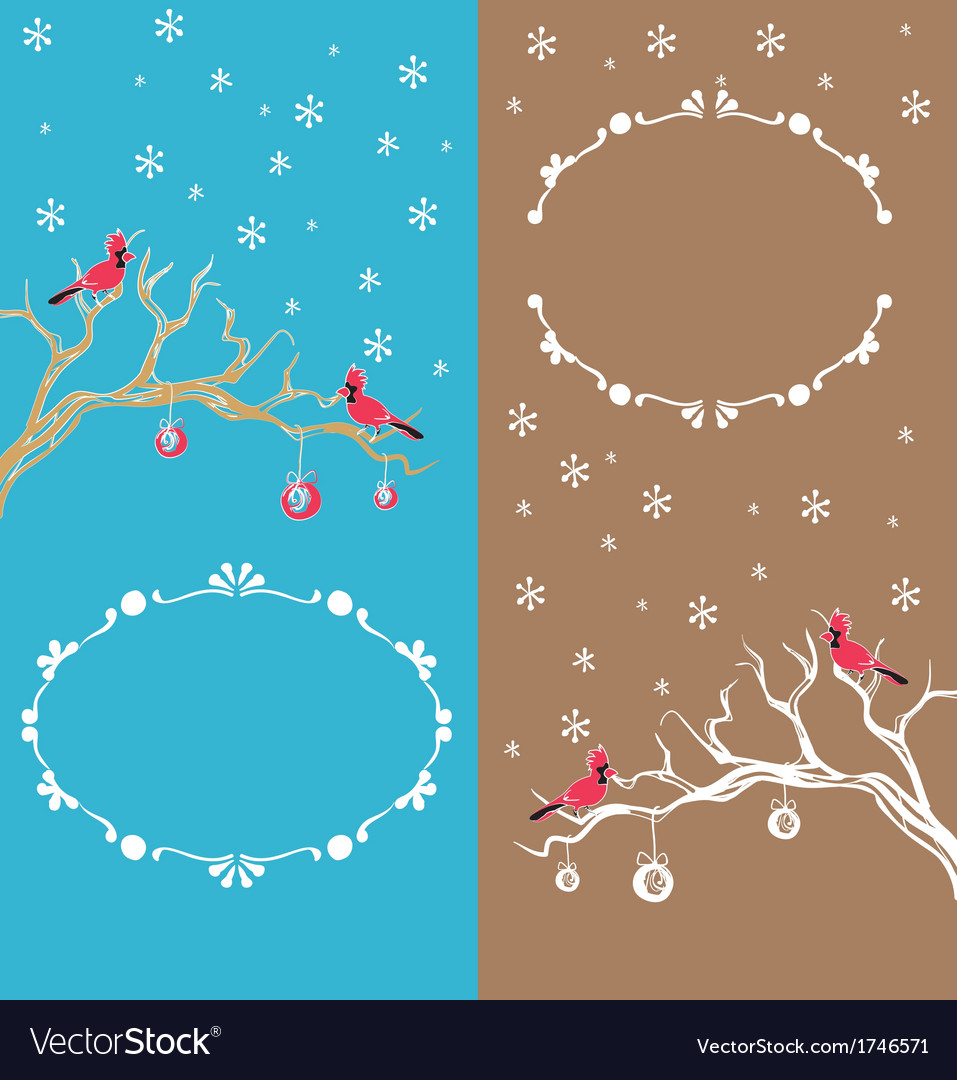 Christmas background cardinal bird brunch vector | Price: 1 Credit (USD $1)
