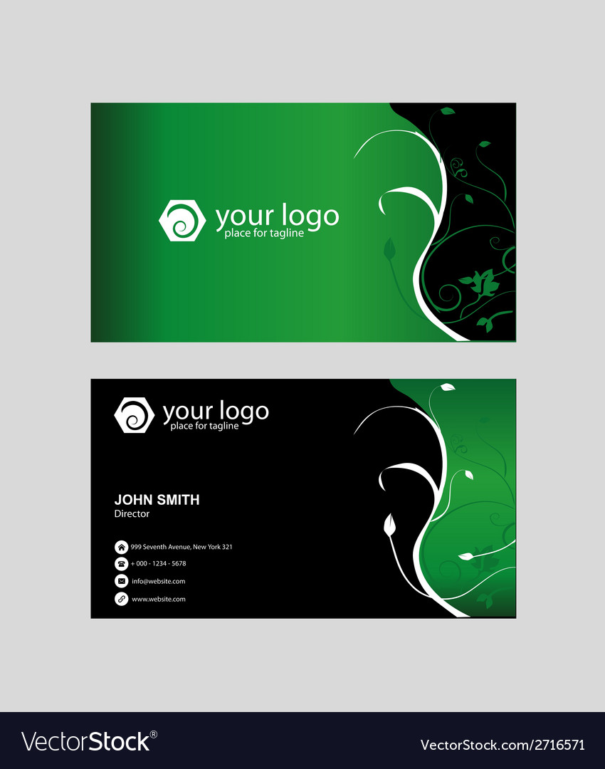 Eco green floral business card vector