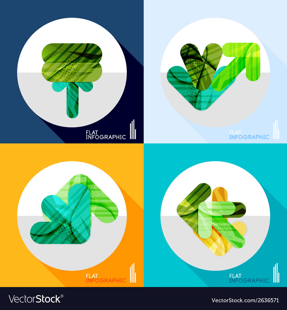 Geometric infographic set in trendy flat style vector | Price: 1 Credit (USD $1)
