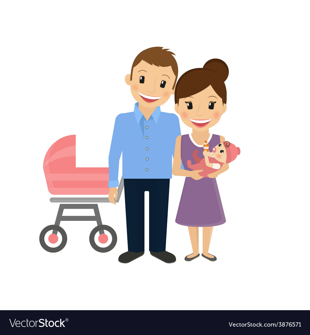 Mom with little baby and husband vector | Price: 1 Credit (USD $1)