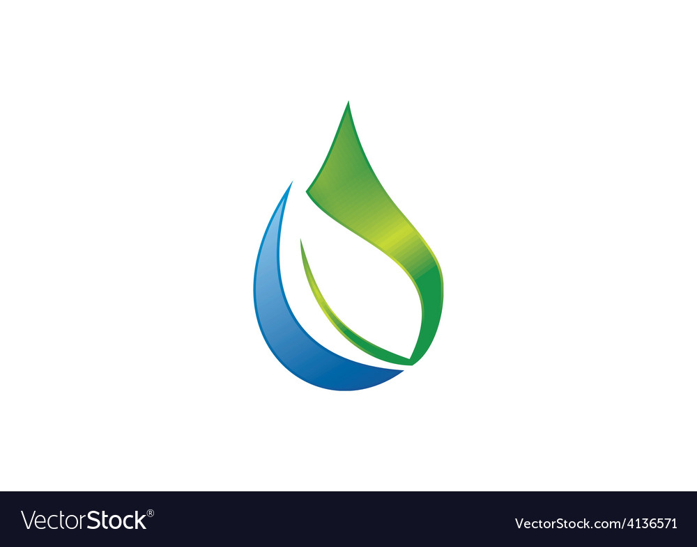 Pure water drop ecology leaf nature logo vector | Price: 1 Credit (USD $1)