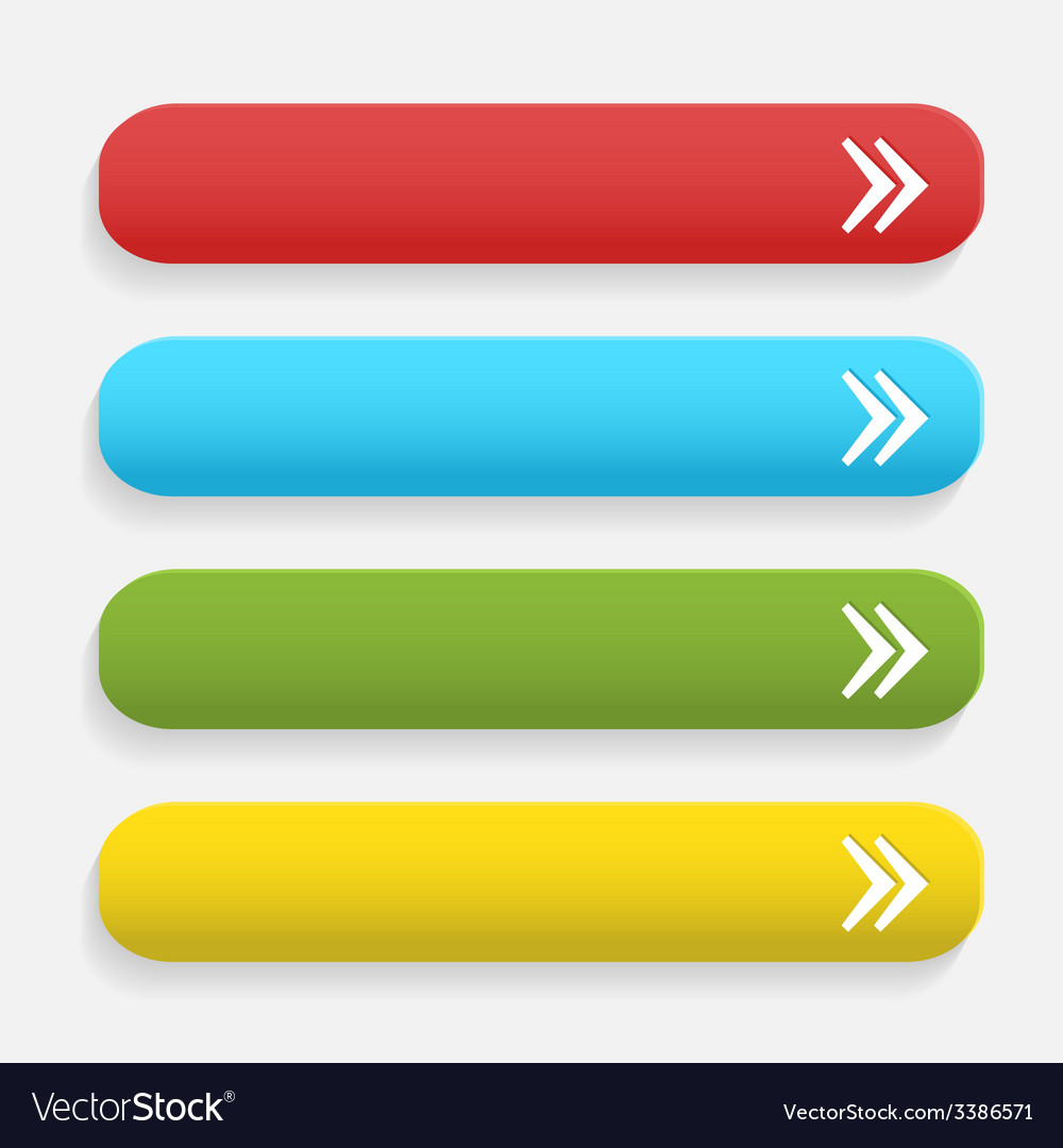 Realistic matted color web buttons with arrow vector | Price: 1 Credit (USD $1)