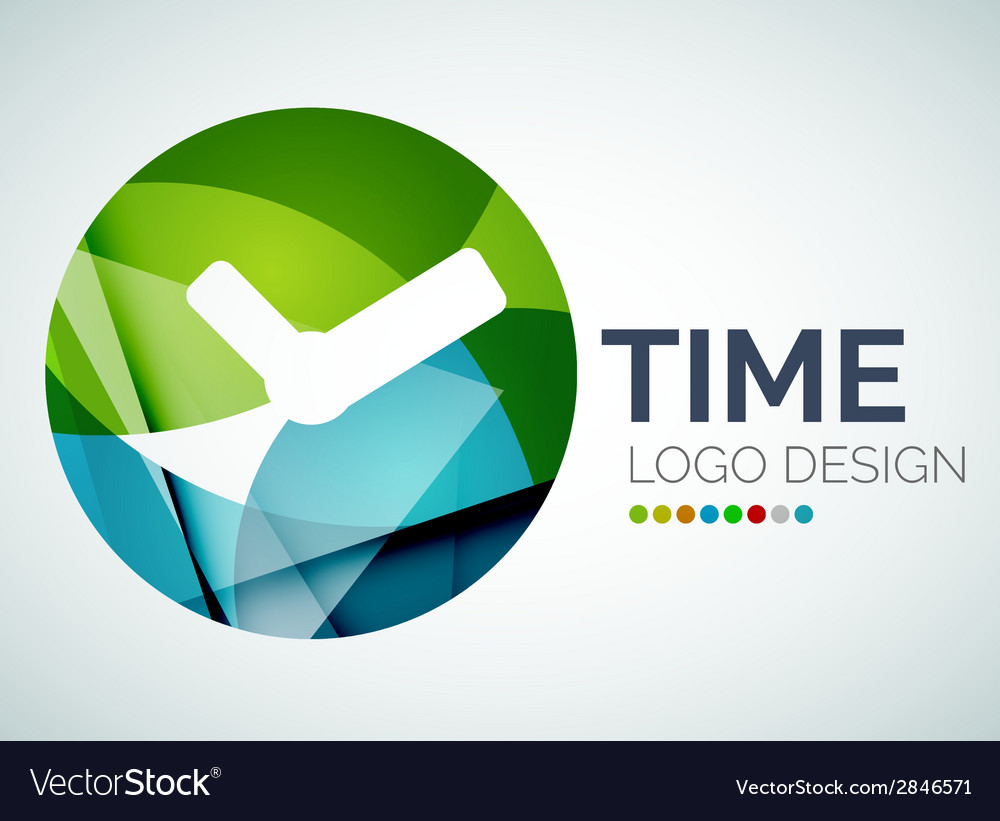 Time clock logo design made of color pieces vector | Price: 1 Credit (USD $1)