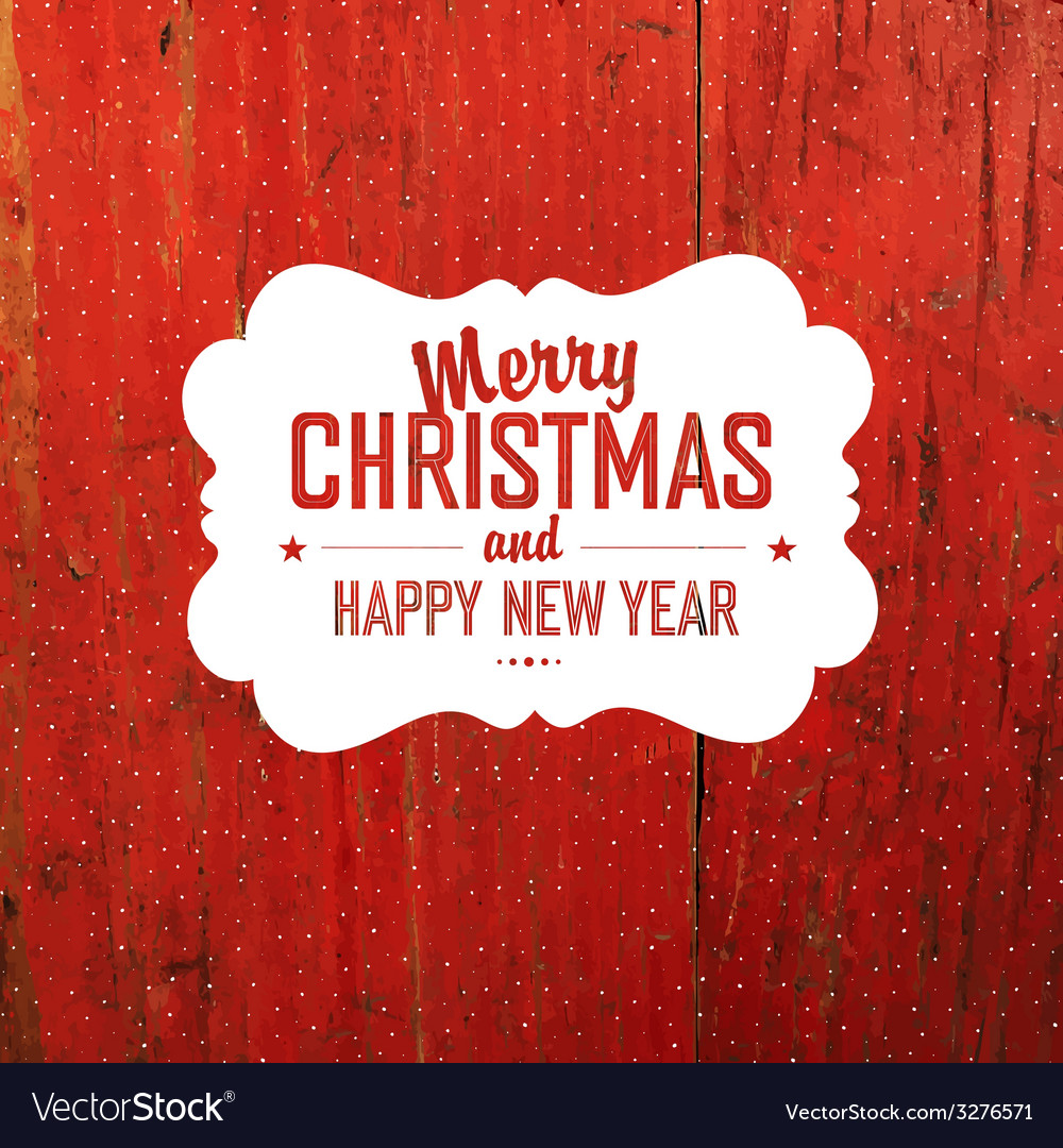 Vintage christmas label on red texture vector | Price: 1 Credit (USD $1)
