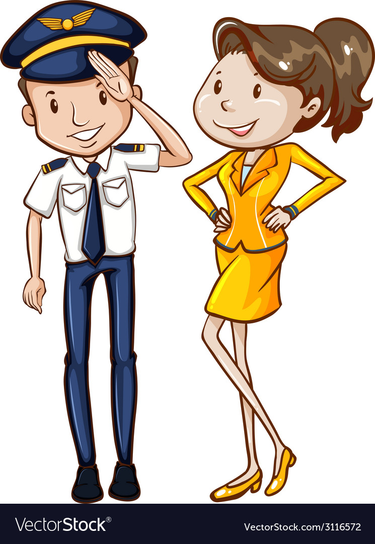 A simple coloured sketch of a pilot and a hostess vector | Price: 1 Credit (USD $1)