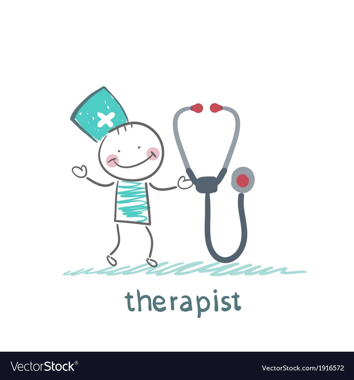 Therapist with tetoskopom vector | Price: 1 Credit (USD $1)