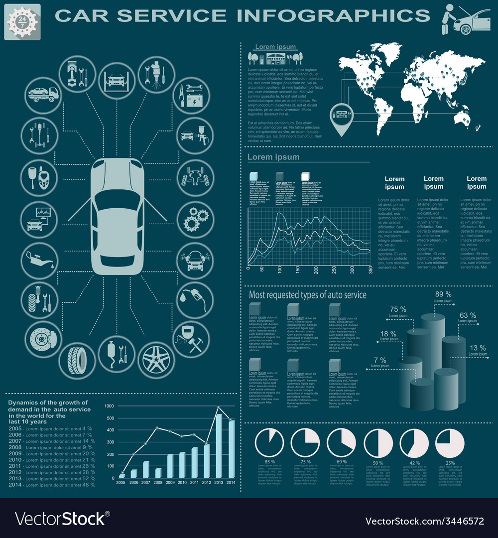 Car service repair infographics vector | Price: 1 Credit (USD $1)