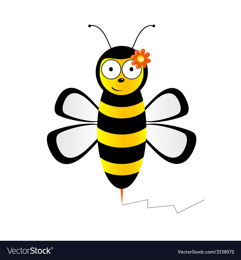 Cute bee in black and yellow color vector | Price: 1 Credit (USD $1)