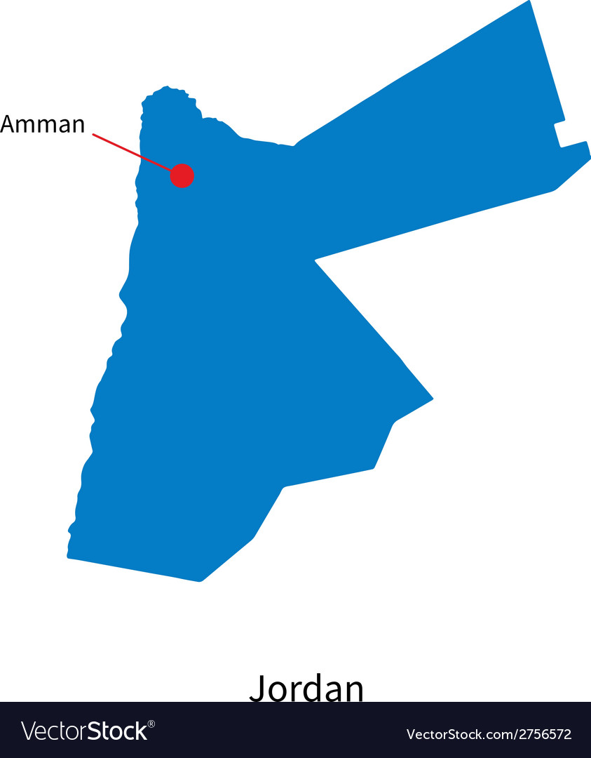 Detailed map of jordan and capital city amman vector | Price: 1 Credit (USD $1)