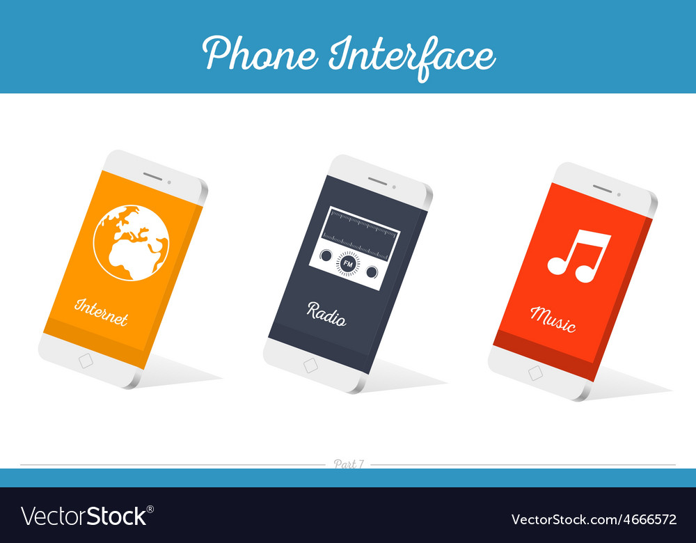 Interface 3d smartphone models with media vector | Price: 1 Credit (USD $1)