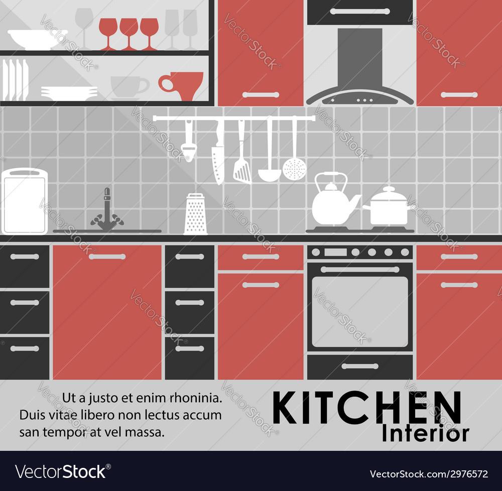 Modern kitchen interior in flat style vector | Price: 1 Credit (USD $1)