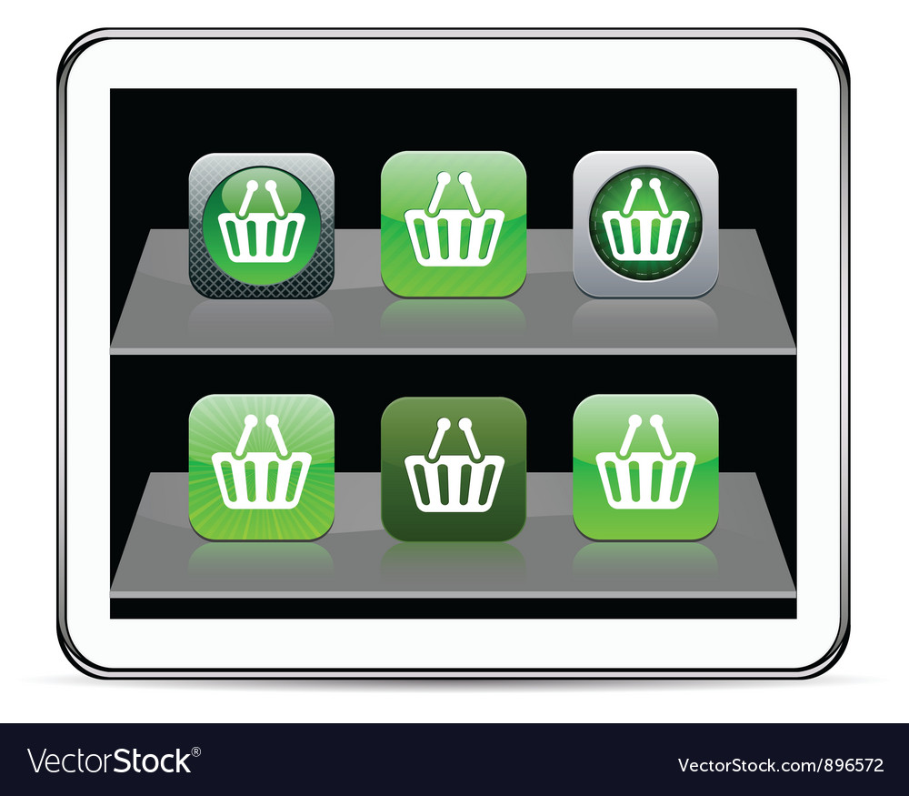 Shopping cart green app icons vector | Price: 1 Credit (USD $1)