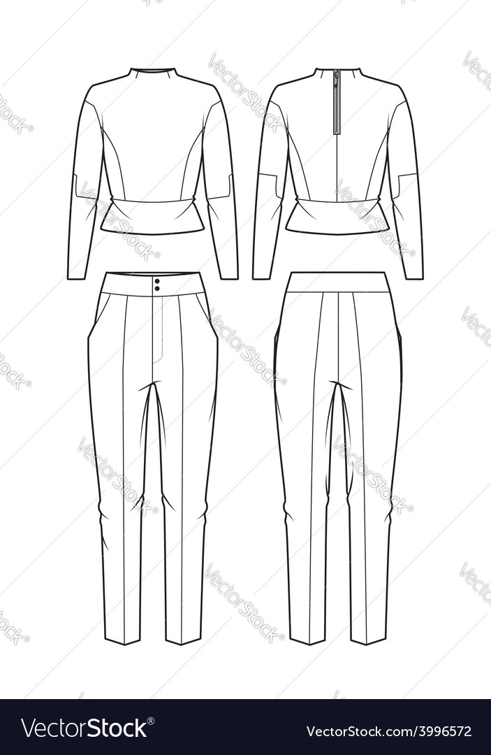 Womens blouse and pants vector | Price: 1 Credit (USD $1)