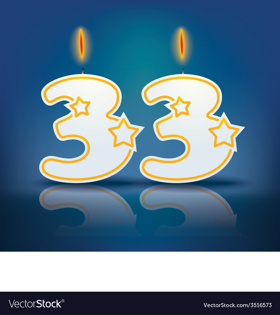 Birthday candle number 33 vector | Price: 1 Credit (USD $1)
