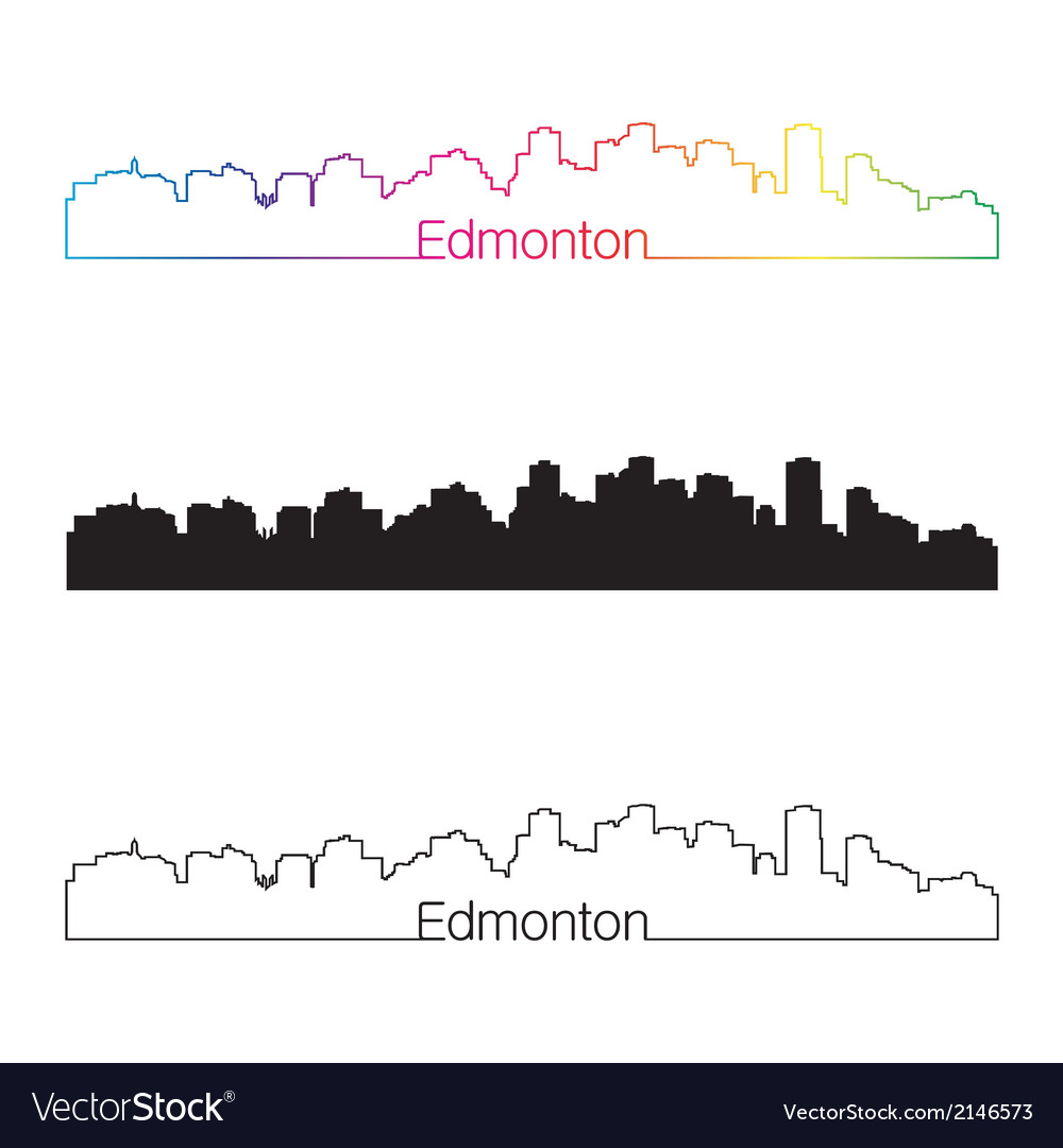 Edmonton skyline linear style with rainbow vector | Price: 1 Credit (USD $1)