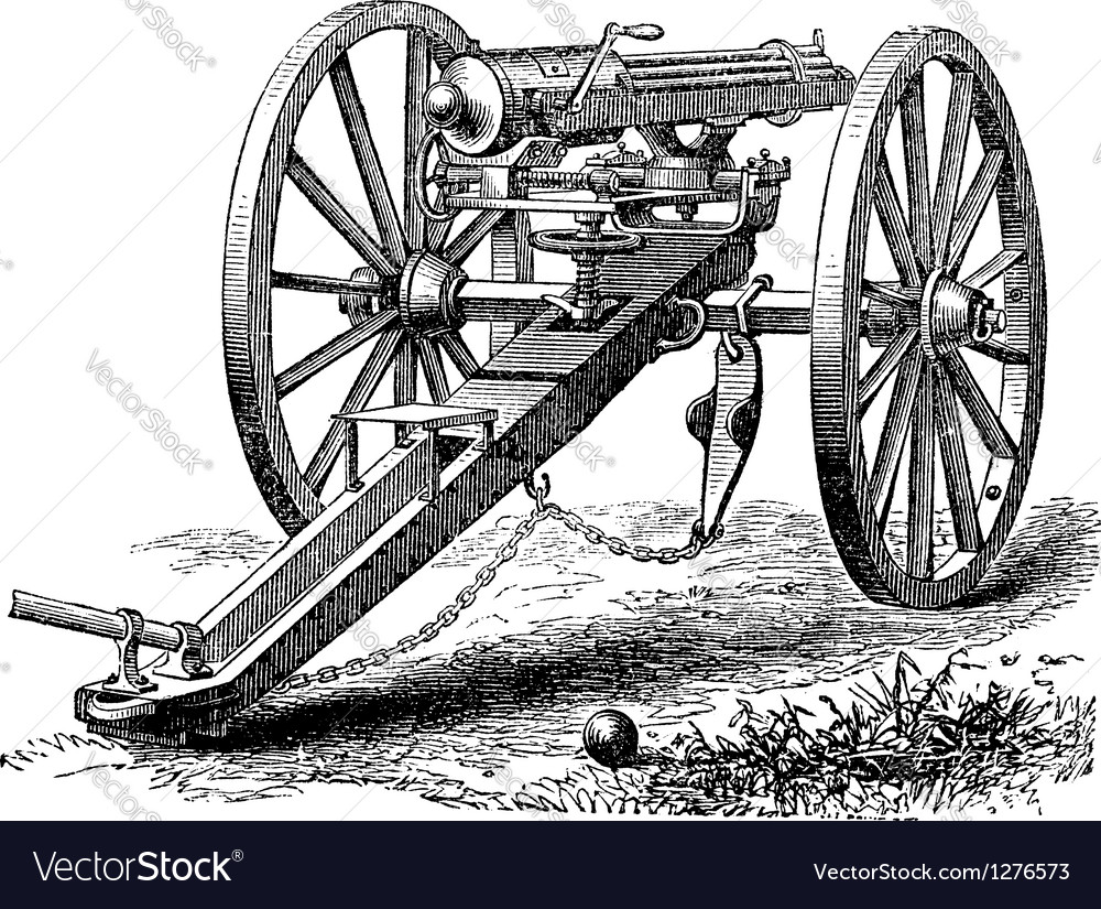 Galting gun vintage engraving vector | Price: 1 Credit (USD $1)