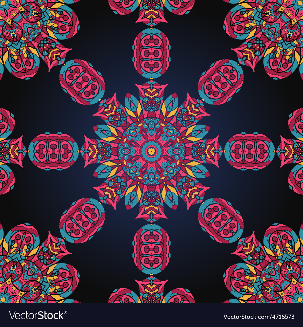 Pink and blue ornate seamless with paisley vector | Price: 1 Credit (USD $1)