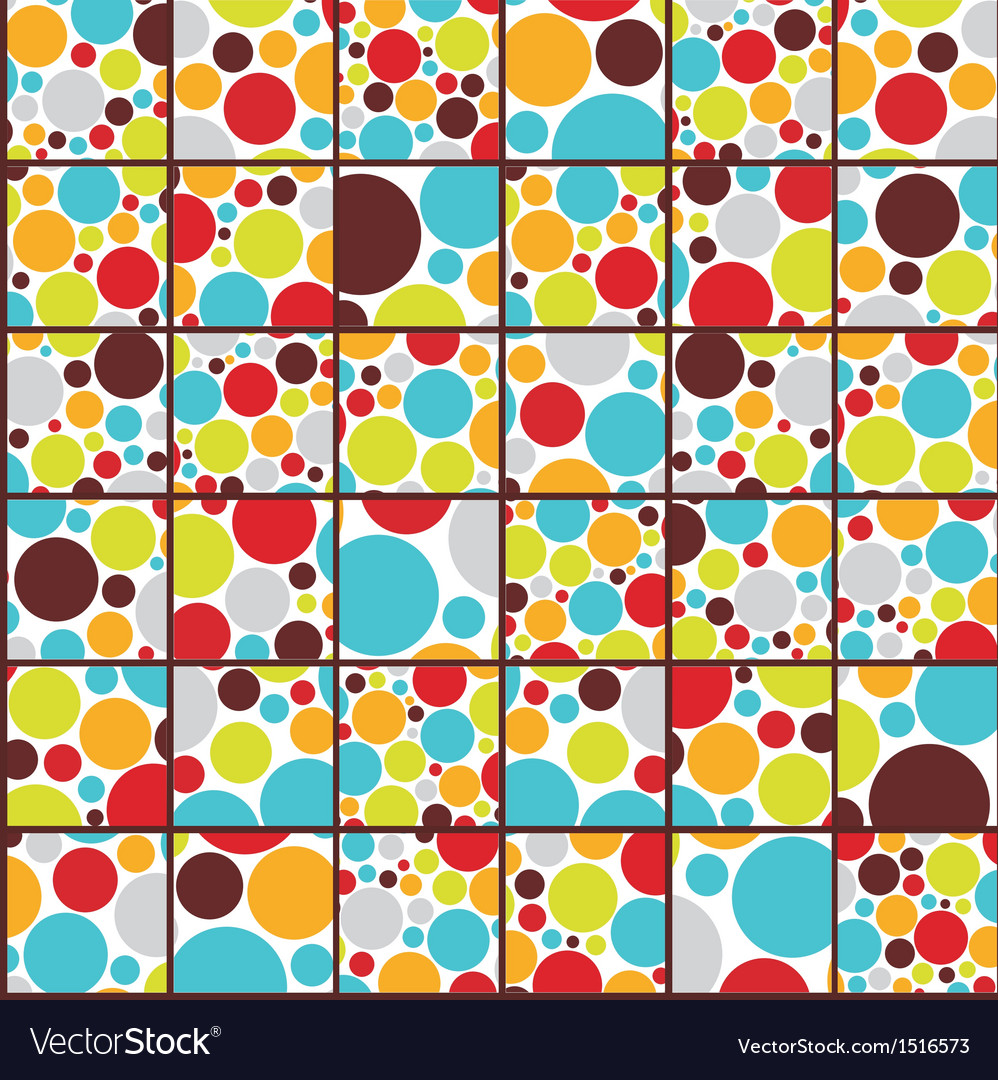 Seamless cell background with colorful dots vector | Price: 1 Credit (USD $1)