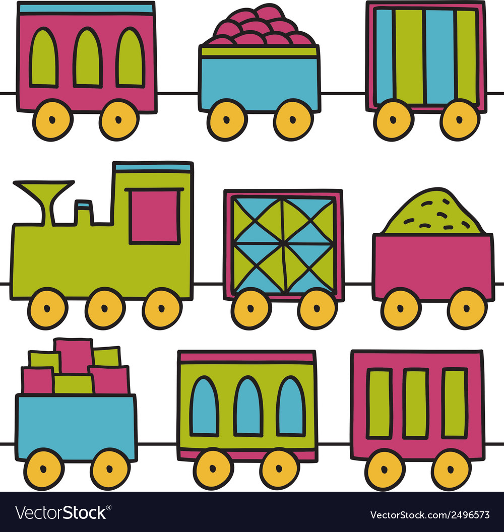 Trains seamless pattern vector | Price: 1 Credit (USD $1)