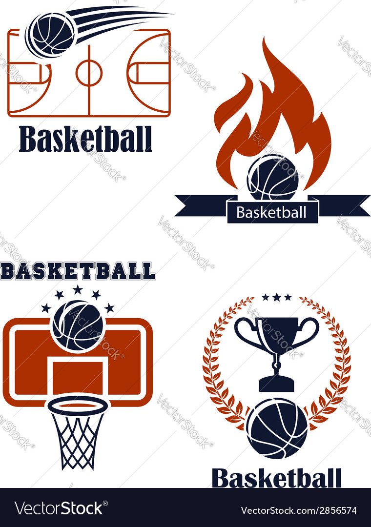 Basketball sport emblems or logos vector | Price: 1 Credit (USD $1)