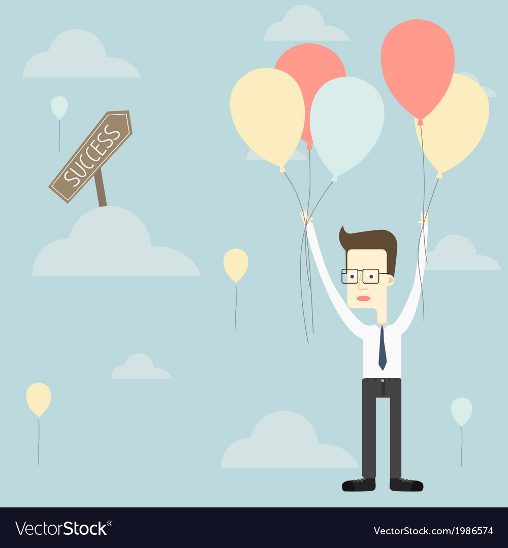 Businessman fly with balloon to success vector | Price: 1 Credit (USD $1)