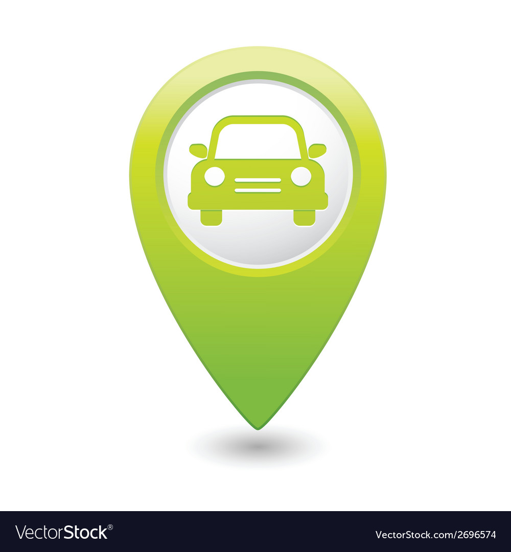 Car icon green map pointer vector | Price: 1 Credit (USD $1)