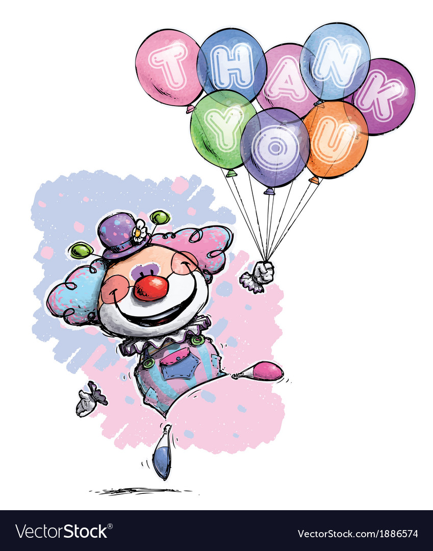 Clown with balloons saying thank you baby colors vector | Price: 3 Credit (USD $3)