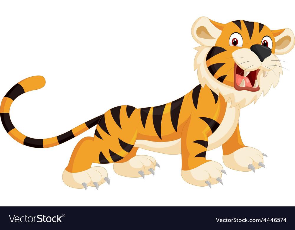 Cute tiger cartoon roaring vector   Price: 1 Credit (USD $1)
