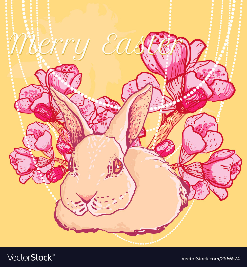 Easter rabbit with spring cherry branch vector | Price: 1 Credit (USD $1)