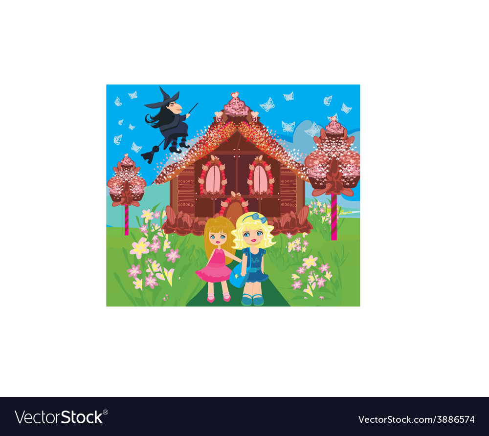 Gingerbread house children and witch vector | Price: 1 Credit (USD $1)