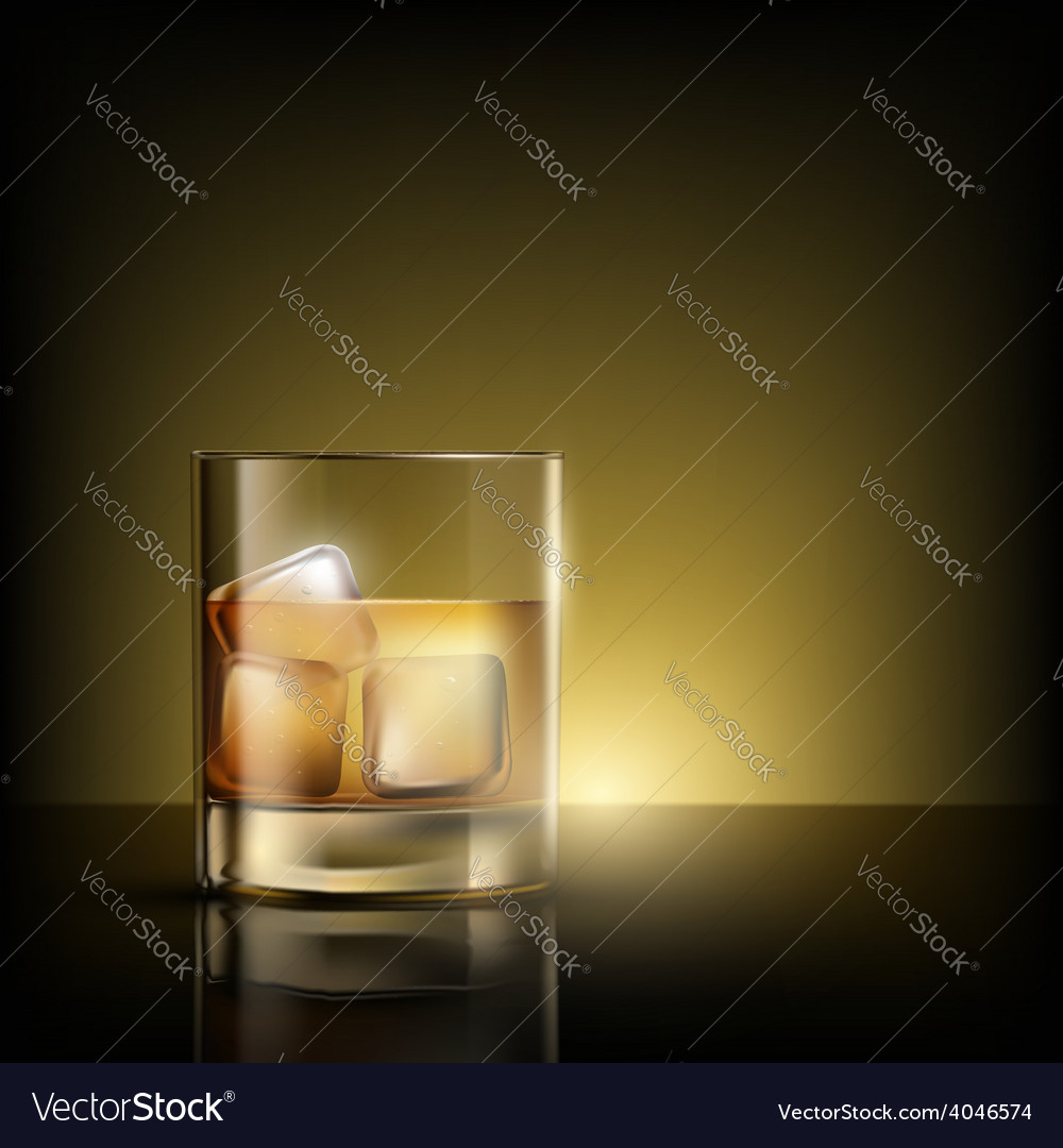 Glass of whiskey with ice vector | Price: 1 Credit (USD $1)
