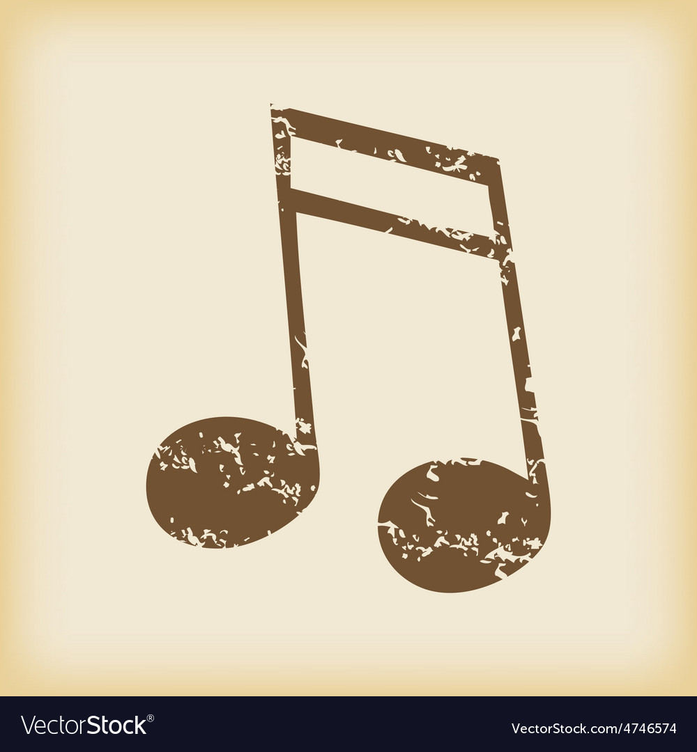 Grungy sixteenth note icon vector | Price: 1 Credit (USD $1)