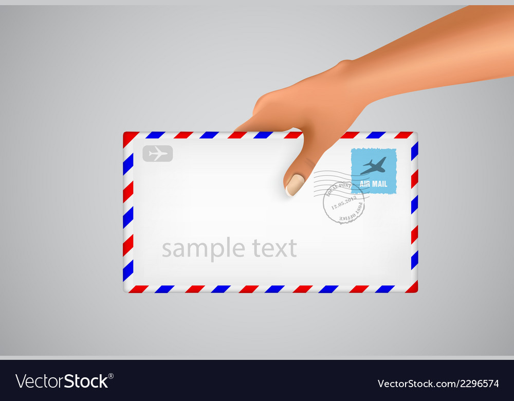 Hand holds the envelope vector | Price: 1 Credit (USD $1)