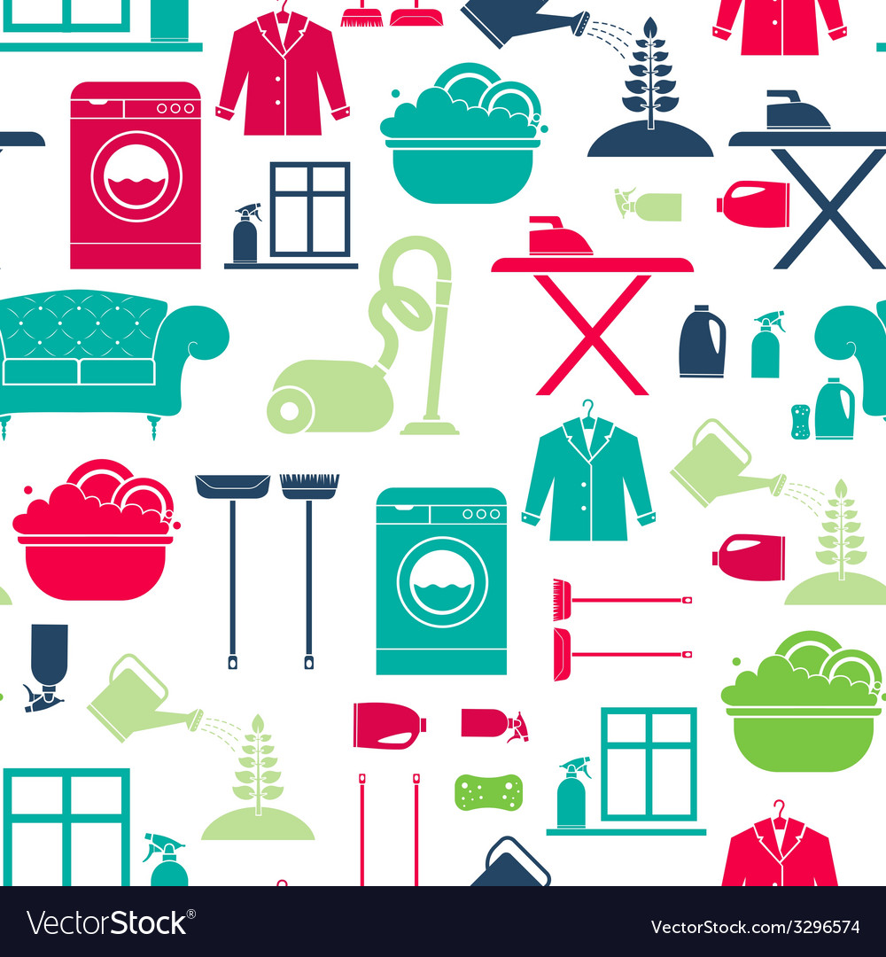 House cleaning seamless vector | Price: 1 Credit (USD $1)
