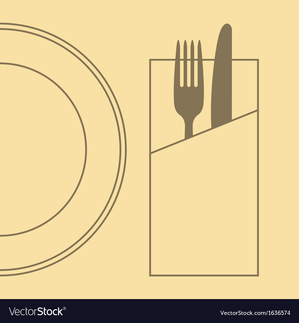 Knife fork plate and napkin vector | Price: 1 Credit (USD $1)