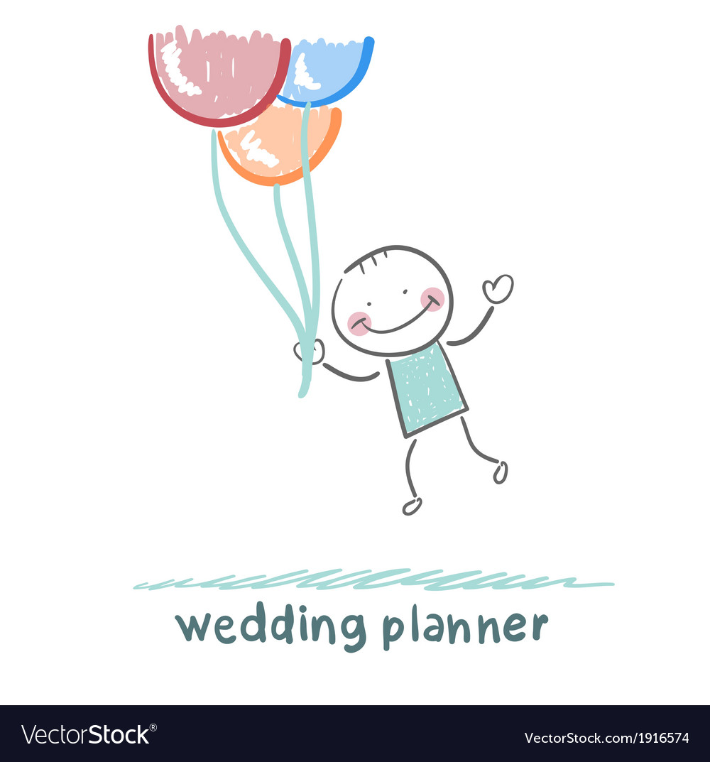 Wedding planner flying with balloons vector | Price: 1 Credit (USD $1)