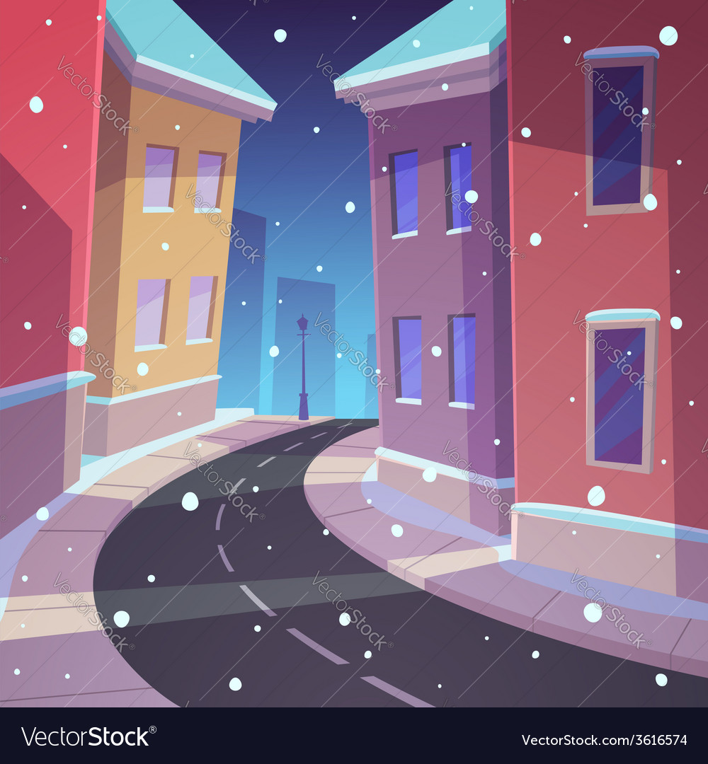 Winter street vector | Price: 3 Credit (USD $3)