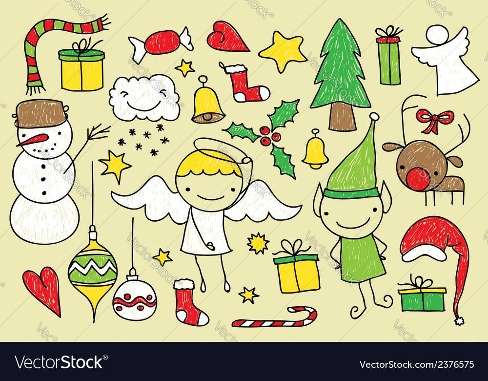 Christmas kid doodle vector