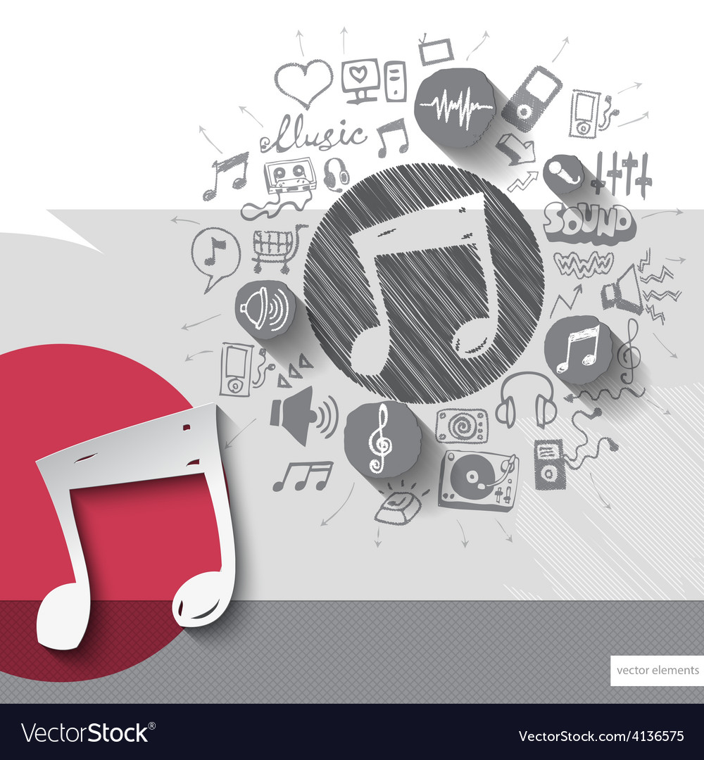 Hand drawn music note icons with icons background vector | Price: 1 Credit (USD $1)