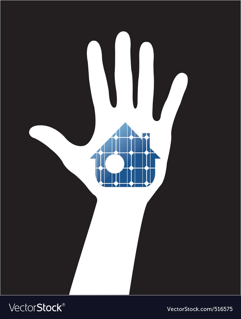 Hand with solar house vector | Price: 1 Credit (USD $1)